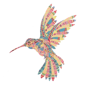 PASTEL MOSAIC HUMMINGBIRDS