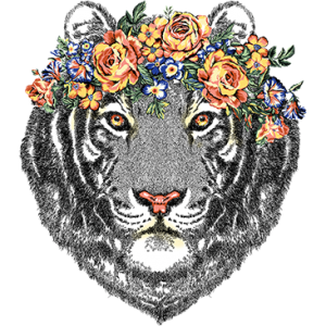 TIGER HEAD WITH FLOWERS