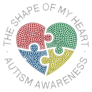AUTISM SHAPE OF MY HEART-RHINESTUDS