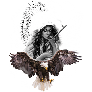 NATIVE GIRL WITH EAGLE & WOLF