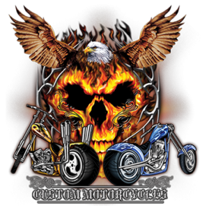 MOTORCYCLES AND FLAMING SKULL