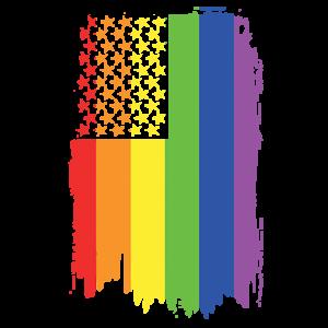 GAY PRIDE VERTICAL FLAG NEON