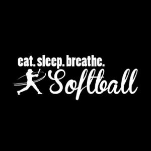 EAT SLEEP SOFTBALL WHITE