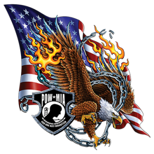 POW MIA EAGLE FIRE FLAG