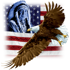 INDIAN U.S. FLAG & EAGLE
