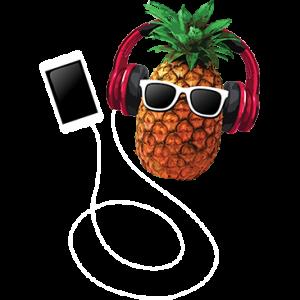 PINEAPPLE W/ HEAD PHONES MUSIC