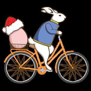 RABBIT RIDING BICYCLE XMAS EGG
