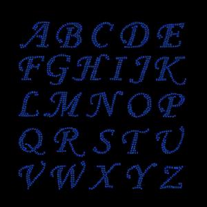 ROYAL BLUE LETTERS RHINESTONES