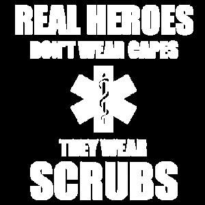 REAL HEROES WEAR SCRUBS-WHT