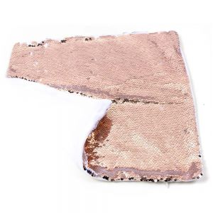 REVERSIBLE ROSE GOLD AND WHITE SEQUIN PILLOW
