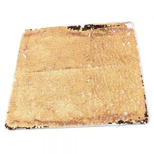 REVERSIBLE GOLD AND WHITE SEQUIN PILLOW