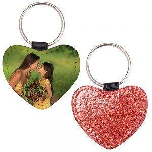 HEART LEATHER KEYCHAIN - RED GLITTER