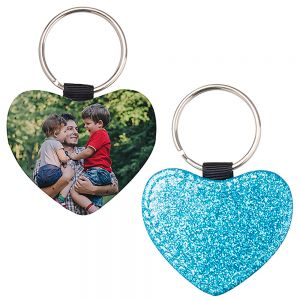 HEART LEATHER KEYCHAIN - BLUE GLITTER