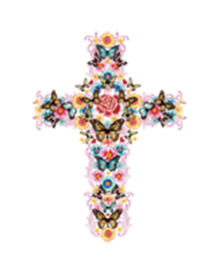 CROSS WITH FLOWERS AND BUTTERFLIES