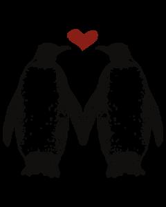PENGUINS HOLDING FINS HEART