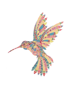 PASTEL MOSAIC HUMMINGBIRDS