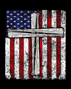AMERICAN FLAG W/CROSS BATS