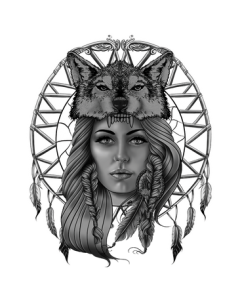 INDIAN WOMAN W/WOLF HEADRESS