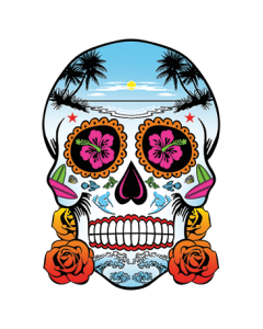 NEON SKULL WITH ROSES