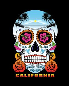 NEON SKULL ROSES CALIFORNIA