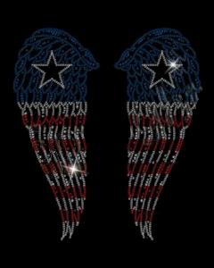 AMERICAN FLAG WINGS RHINESTONES