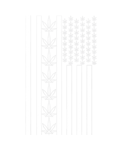 POT LEAF AMERICAN FLAG-WHITE