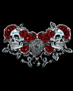 SKULLS ROSES AND KEY HEART