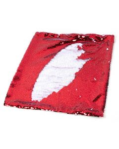 REVERSIBLE RED AND WHITE SEQUIN PILLOW